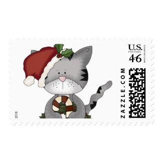 Christmas Cat Santa Claus Postage Stamps