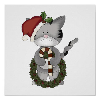 Christmas Cat Santa Claus Poster