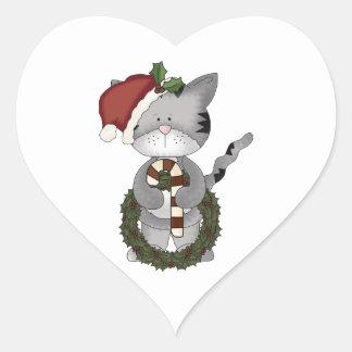 Christmas Cat Santa Claus Heart Sticker