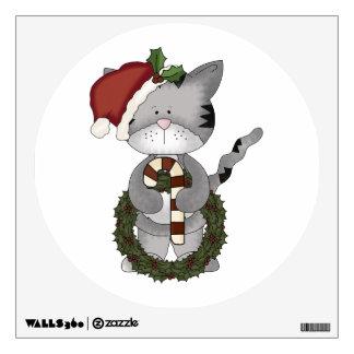Christmas Cat Santa Claus Wall Decal