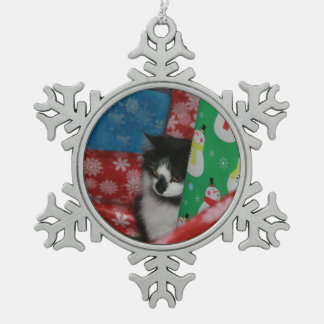 Christmas Cat Snowflake Pewter Christmas Ornament