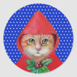 """Christmas Cat Stickers<br><div class=""""desc"""">Red Riding Hood cat on these holiday stickers! She has on her holiday cape tied with a bit of holly. Original art by WDeWitt.</div>"""