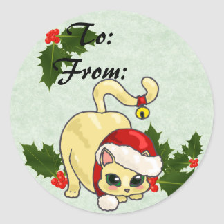 Christmas Cat To and From Stickers