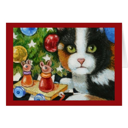Christmas Cat Toy Greeting Card