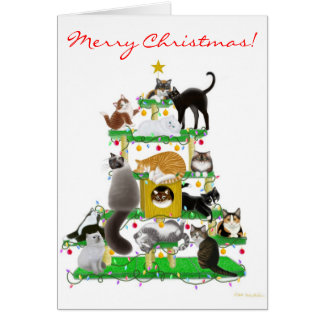 Christmas Cat Tree Greeting Card