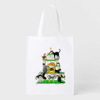 Christmas Cat Tree Grocery Bag