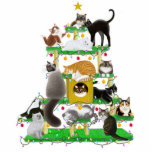 "Christmas Cat Tree Photo Sculpture Ornament<br><div class=""desc"">Original fine art design of cats enjoying their kitty condo decorated for Christmas by designer Carolyn McFann on a quality ornament for feline fans. 