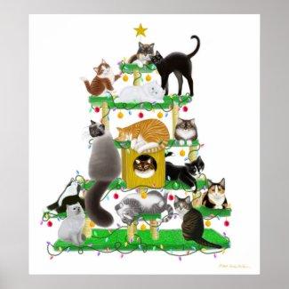 Christmas Cat Tree Print print