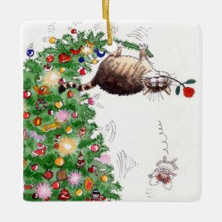 Christmas Cat Trouble Ceramic Ornament