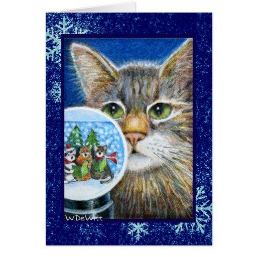Christmas Cat w/Snowglobe Card