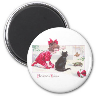 Christmas Cat Watches Turtle Pull Toy Vintage 2 Inch Round Magnet
