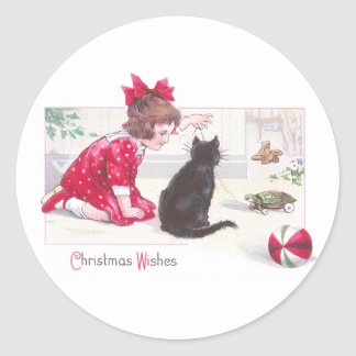Christmas Cat Watches Turtle Pull Toy Vintage Classic Round Sticker