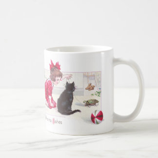 Christmas Cat Watches Turtle Pull Toy Vintage Coffee Mug