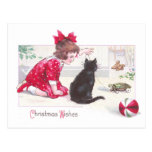 Christmas Cat Watches Turtle Pull Toy Vintage Postcard