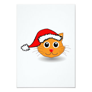 Christmas Cat Wearing Santa Hat Custom Invitation