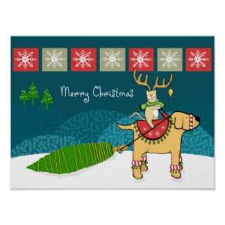 Christmas Cat with Antlers and Dog Reindeer Print