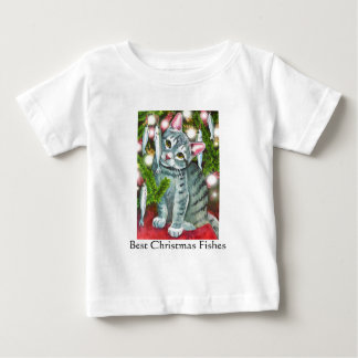 Christmas Cat with Fish Best Christmas Fishes Baby T-Shirt
