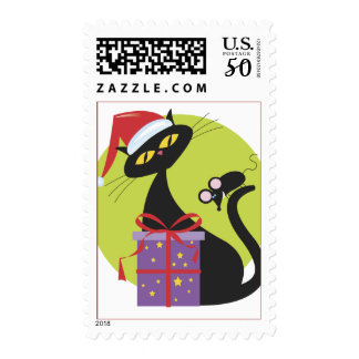 Christmas Cat With Mouse on Tail  Postage stamps