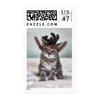 Christmas Cat with Reindeer Hat Postage