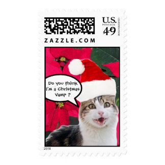 CHRISTMAS CAT WITH SANTA CLAUS HAT AND POINSETTIAS POSTAGE
