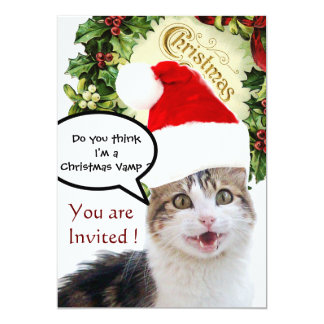 CHRISTMAS CAT WITH SANTA CLAUS HAT HOLIDAY PARTY 5X7 PAPER INVITATION CARD