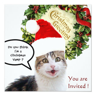 CHRISTMAS CAT WITH SANTA CLAUS HAT HOLIDAY PARTY INVITATION