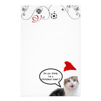 CHRISTMAS CAT WITH SANTA CLAUS HAT Monogram Stationery