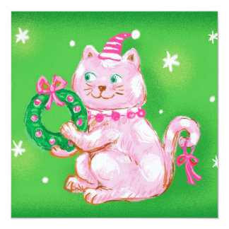Christmas Cat with Santa Hat Invite
