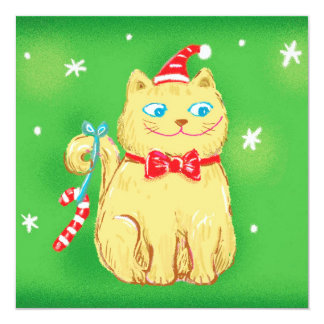 Christmas Cat with Santa Hat 5.25x5.25 Square Paper Invitation Card