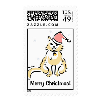 Christmas Cat with Santa Hat Postage Stamp