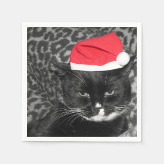 Christmas cat with Santa's hat Paper Napkin