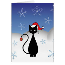 Christmas Cat with Snowflakes Card