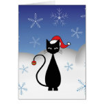 Christmas Cat with Snowflakes Cards