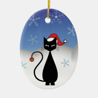Christmas Cat with Snowflakes Double-Sided Oval Ceramic Christmas Ornament