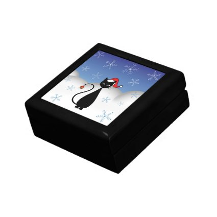 Christmas Cat with Snowflakes Gift Box