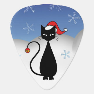 Christmas Cat with Snowflakes Guitar Pick