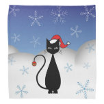 Christmas Cat with Snowflakes Kerchiefs