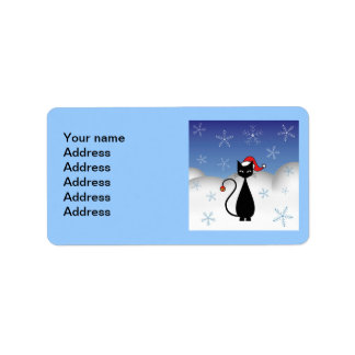 Christmas Cat with Snowflakes Label