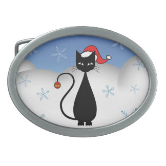 Christmas Cat with Snowflakes Oval Belt Buckle