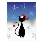 Christmas Cat with Snowflakes Postcard