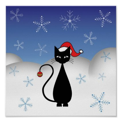 Christmas Cat with Snowflakes Posters