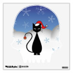 Christmas Cat with Snowflakes Room Stickers