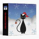 Christmas Cat with Snowflakes Vinyl Binder