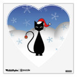 Christmas Cat with Snowflakes Wall Decor