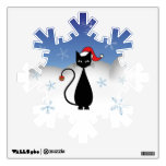 Christmas Cat with Snowflakes Wall Graphics