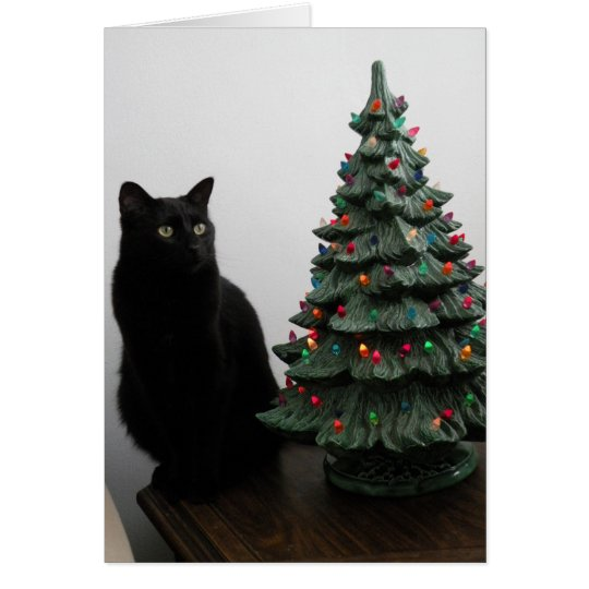 Christmas Cat with Tree Card