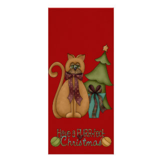 Christmas Cat with Tree Personalized Rack Card