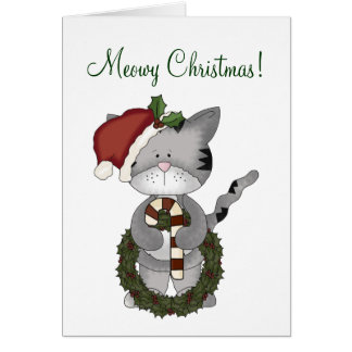 Christmas Cat with Wreath+Candy Cane-Humor Cards
