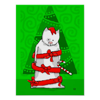 Christmas Cat Wrapped in Red Holiday Ribbon Print