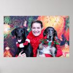 Christmas - Catahoula Brita and Labrador Cooper Print